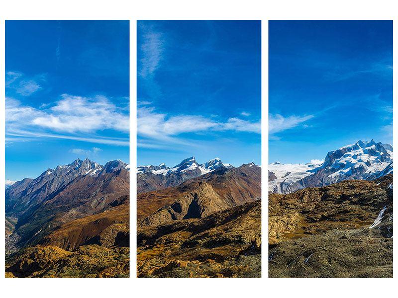 Acrylglasbild 3-teilig Schweizer Alpen im Frühling
