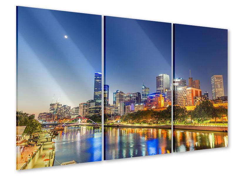 Acrylglasbild 3-teilig Skyline Sydney in der Abenddämmerung