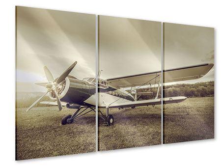 Acrylglasbild 3-teilig Nostalgisches Flugzeug im Retrostyle