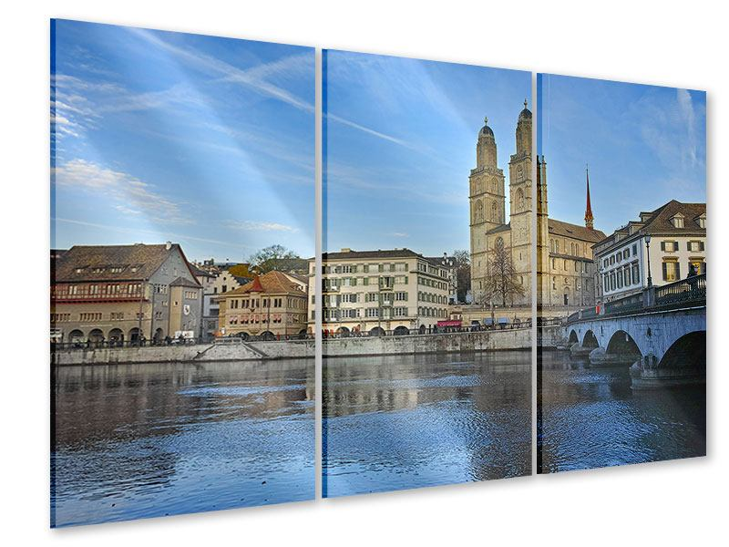 Acrylglasbild 3-teilig Die Altstadt von Zürich