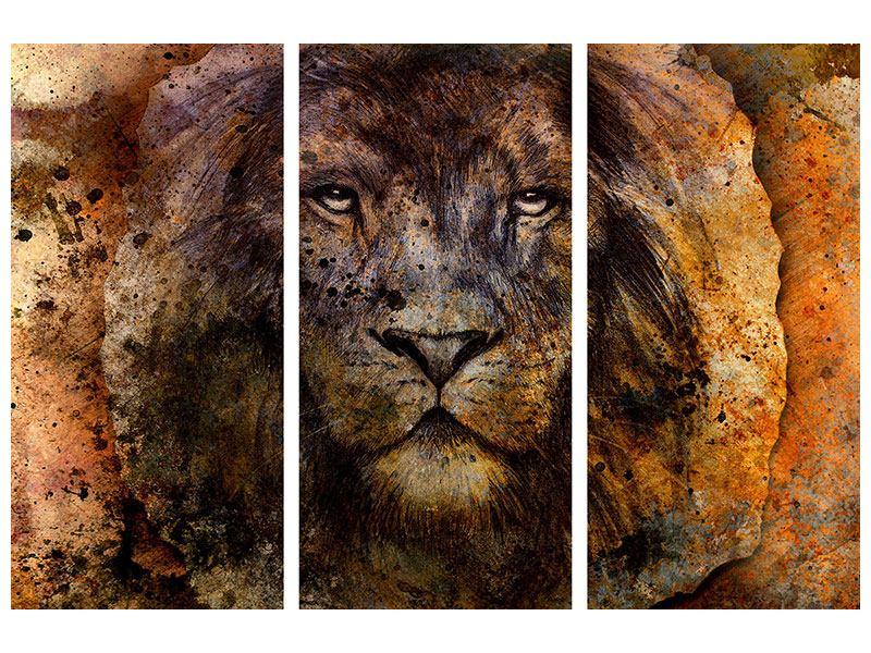 Acrylglasbild 3-teilig Portrait eines Löwen