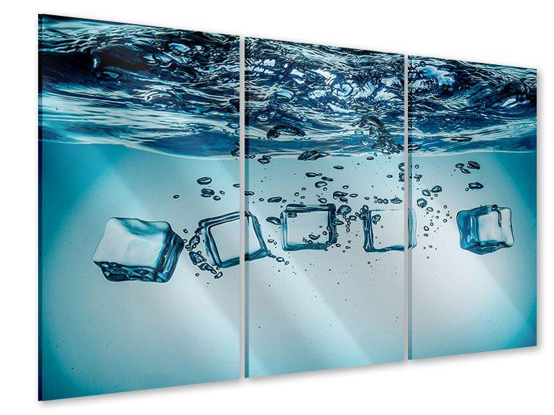Acrylglasbild 3-teilig Eiswürfel-Quadro