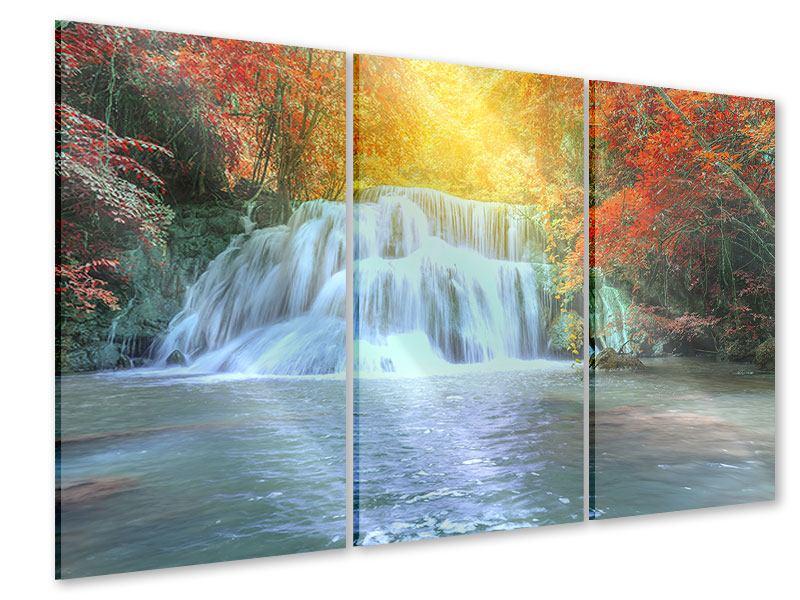 Acrylglasbild 3-teilig Wasserfall im Licht