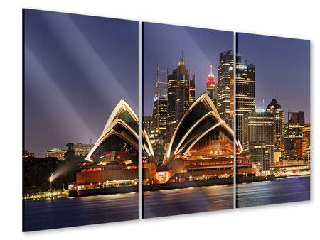 Acrylglasbild 3-teilig Skyline Mit dem Boot vor Sydney