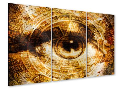 Acrylglasbild 3-teilig Fraktales Auge