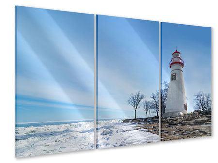 Acrylglasbild 3-teilig Leuchtturm im Schnee