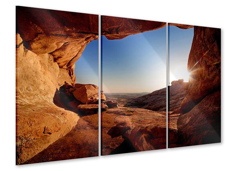 Acrylglasbild 3-teilig Sonnenuntergang vor der Höhle