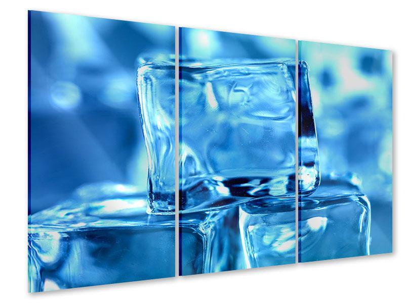 Acrylglasbild 3-teilig Eiswürfel XXL