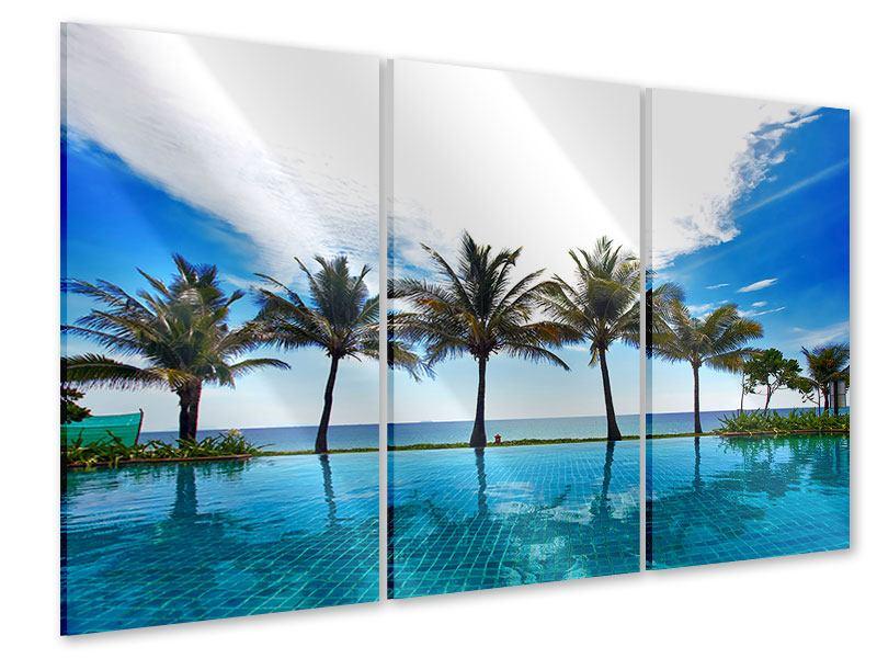 Acrylglasbild 3-teilig Strandvilla