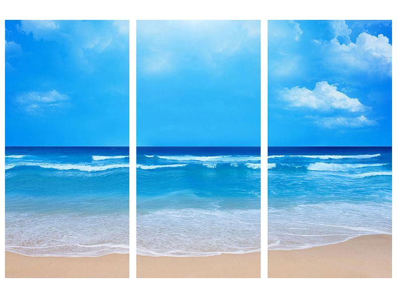 Acrylglasbild 3-teilig Sanfte Strandwellen