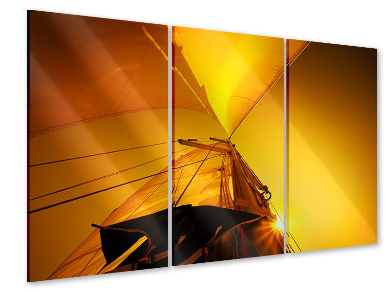 Acrylglasbild 3-teilig Segelboot im Sonnenuntergang