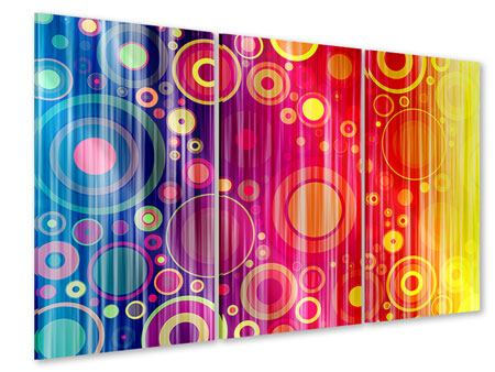 Acrylglasbild 3-teilig Grunge-Retrokreise