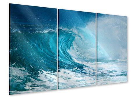 Acrylglasbild 3-teilig Die perfekte Welle