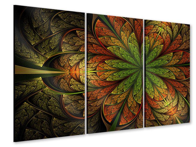 Acrylglasbild 3-teilig Abstraktes Blumenmuster