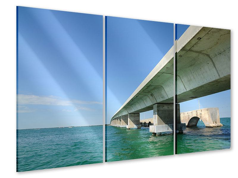Acrylglasbild 3-teilig Seven Mile Bridge