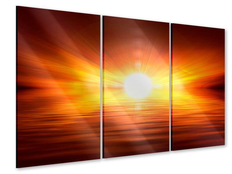 Acrylglasbild 3-teilig Glühender Sonnenuntergang