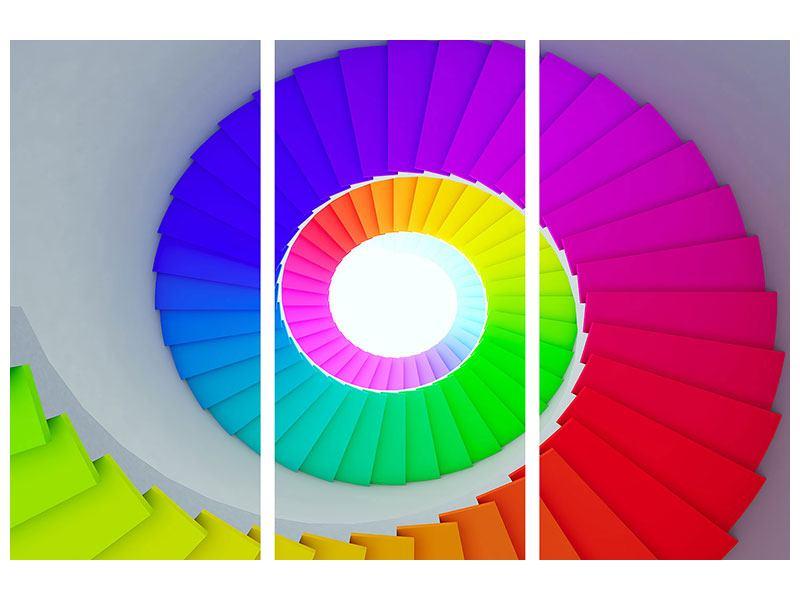 Acrylglasbild 3-teilig Bunte Wendeltreppe 3D