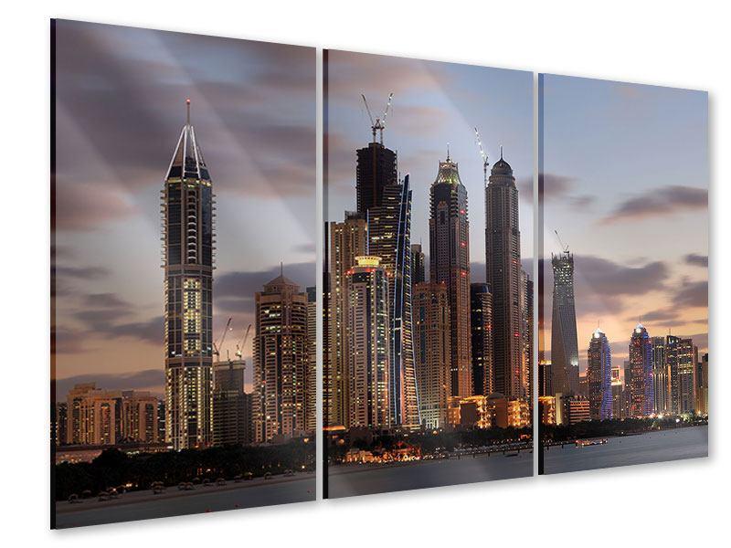 Acrylglasbild 3-teilig Skyline Dubai bei Sonnenuntergang
