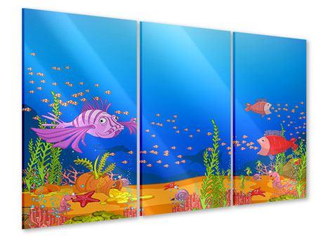 Acrylglasbild 3-teilig Der Schatz unter Wasser