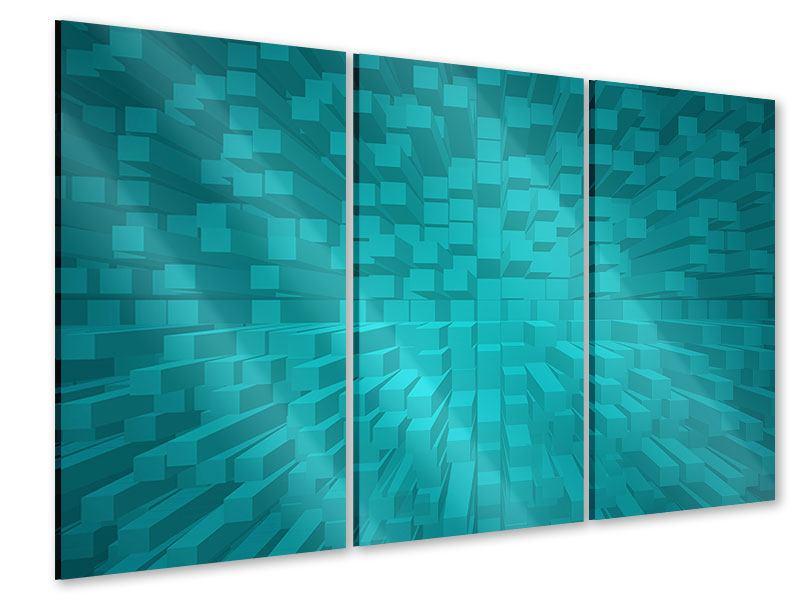Acrylglasbild 3-teilig 3D-Kubusse
