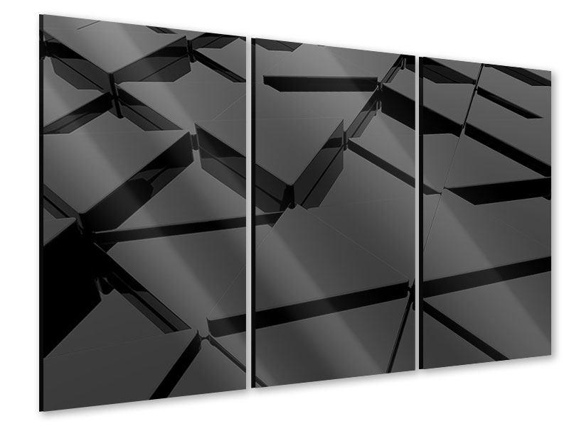 Acrylglasbild 3-teilig 3D-Dreiecksflächen