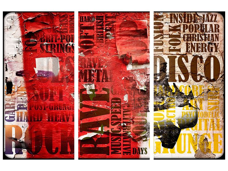 Acrylglasbild 3-teilig Musiktext im Grungestil