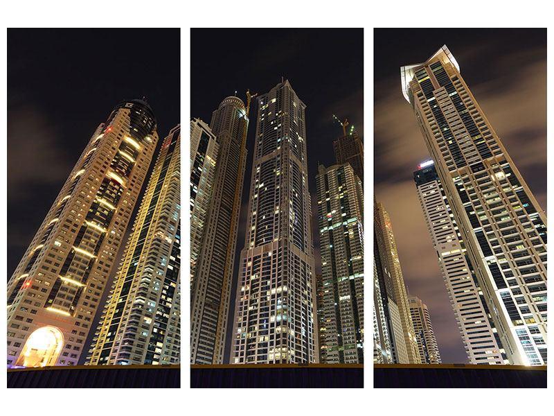 Acrylglasbild 3-teilig Wolkenkratzer Dubai Marina