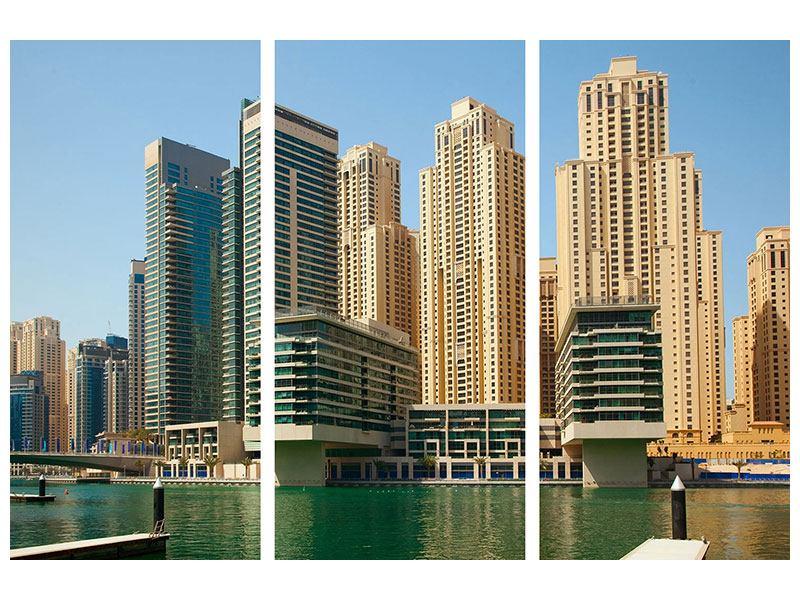 Acrylglasbild 3-teilig Spektakuläre Wolkenkratzer Dubai