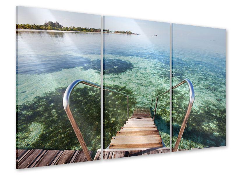 Acrylglasbild 3-teilig Bad im Meer
