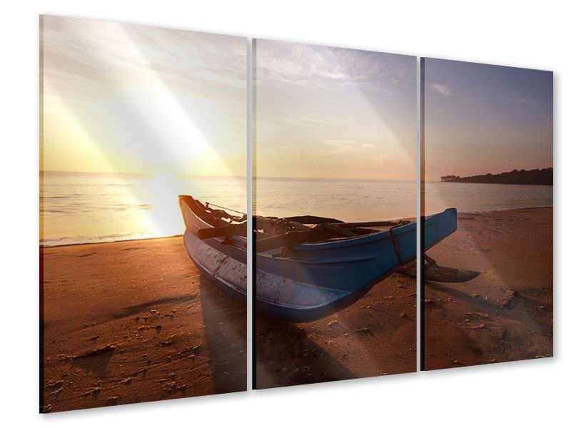 Acrylglasbild 3-teilig Das gestrandete Boot
