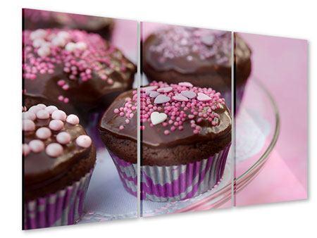 Acrylglasbild 3-teilig Muffins