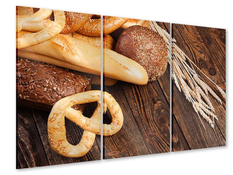 Acrylglasbild 3-teilig Brot und Bretzel