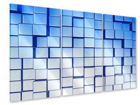 Acrylglasbild 3-teilig 3D-Symetrie