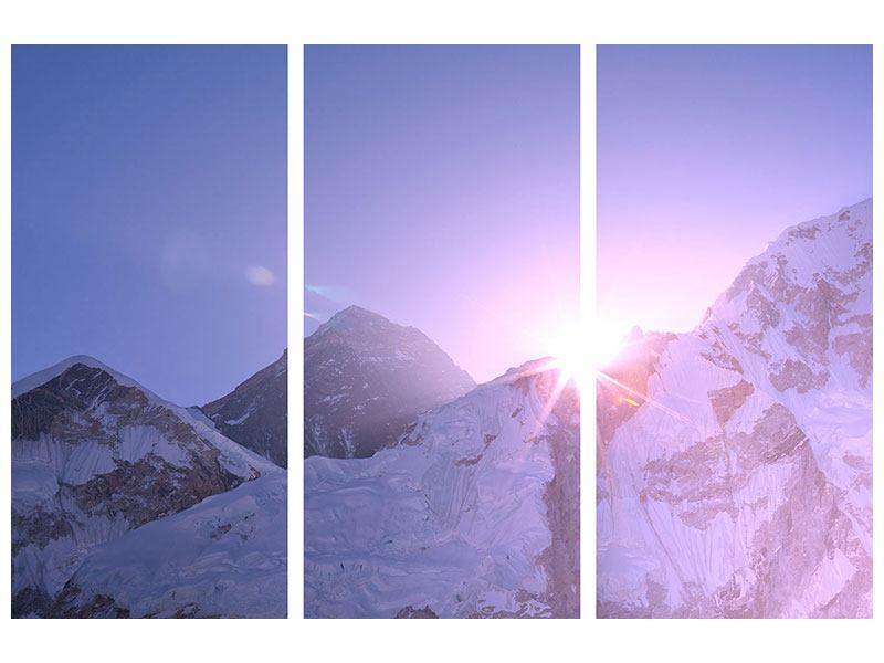 Acrylglasbild 3-teilig Sonnenaufgang beim Mount Everest
