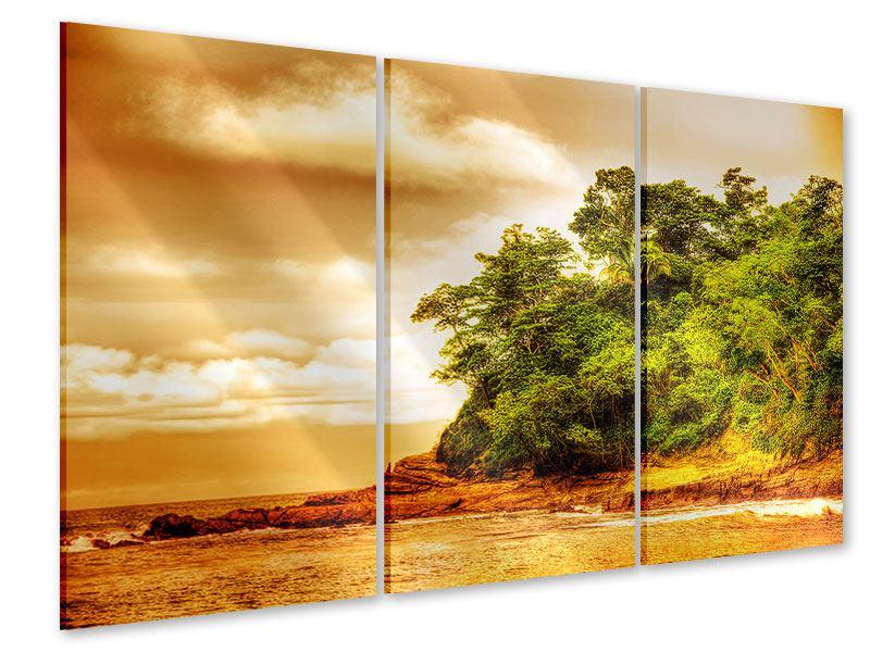 Acrylglasbild 3-teilig Sonnenuntergang am Ende des Waldes