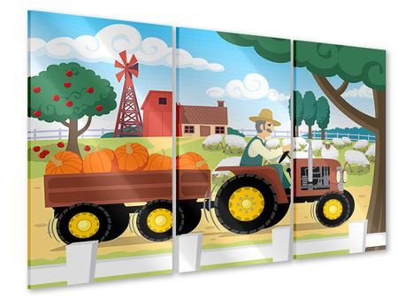 Acrylglasbild 3-teilig Bauernhof