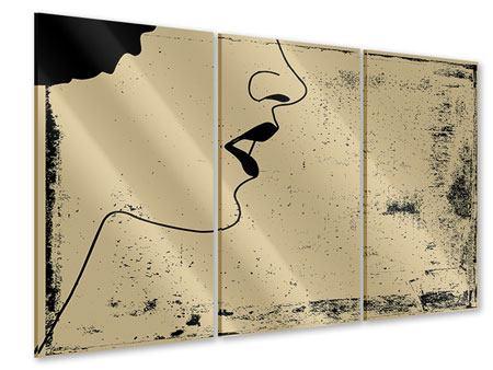 Acrylglasbild 3-teilig Frauenportrait im Grungestil