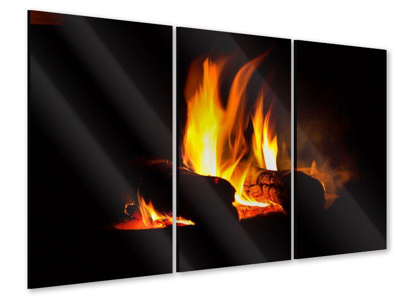 Acrylglasbild 3-teilig Der Kamin