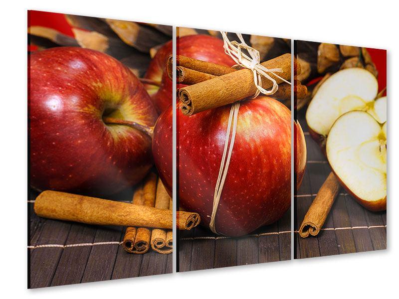 Acrylglasbild 3-teilig Äpfel