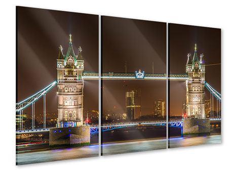 Acrylglasbild 3-teilig Tower Bridge bei Nacht