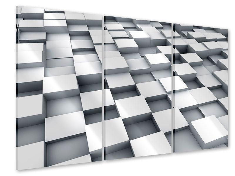 Acrylglasbild 3-teilig 3D-Kubus
