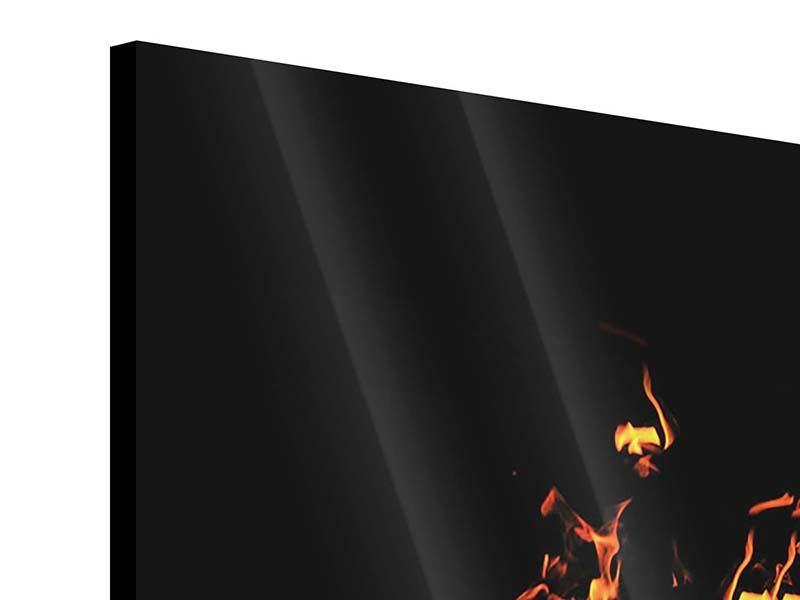 Acrylglasbild 3-teilig Moderne Feuerwand