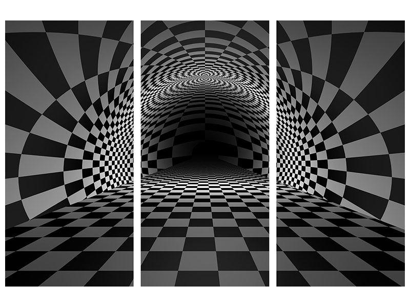 Acrylglasbild 3-teilig Abstraktes Schachbrett