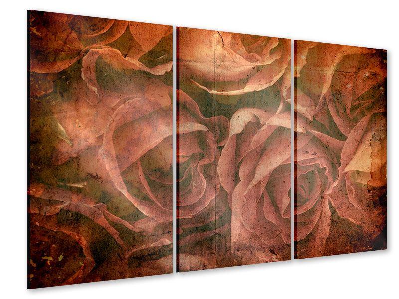 Acrylglasbild 3-teilig Rosenbukett