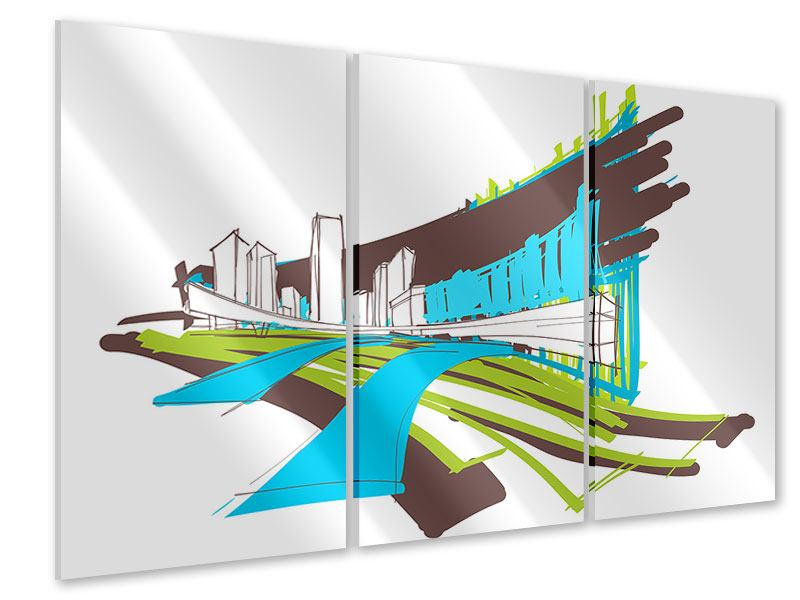 Acrylglasbild 3-teilig Graffiti Street-Art