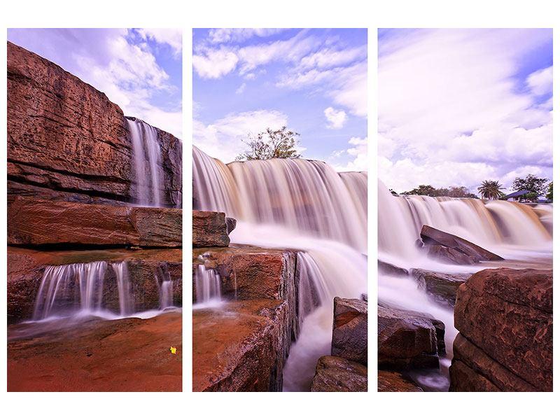 Acrylglasbild 3-teilig Himmlischer Wasserfall