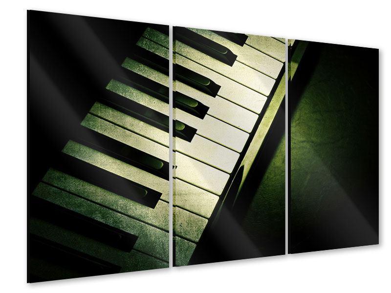 Acrylglasbild 3-teilig Close Up Klavier