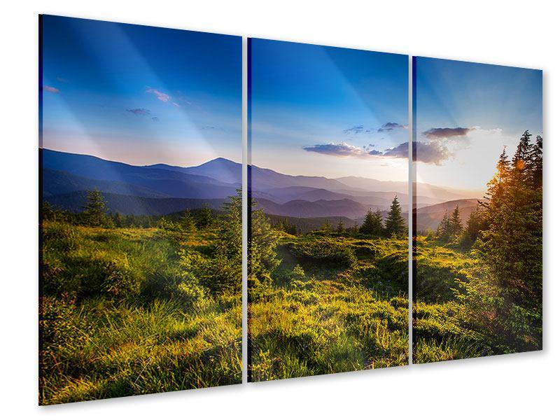 Acrylglasbild 3-teilig Friedliche Landschaft