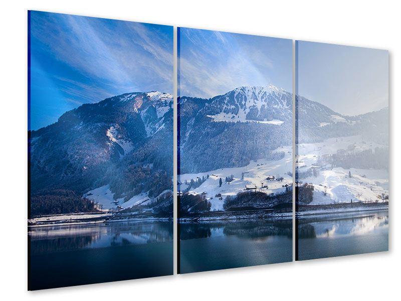 Acrylglasbild 3-teilig Winterwunderland