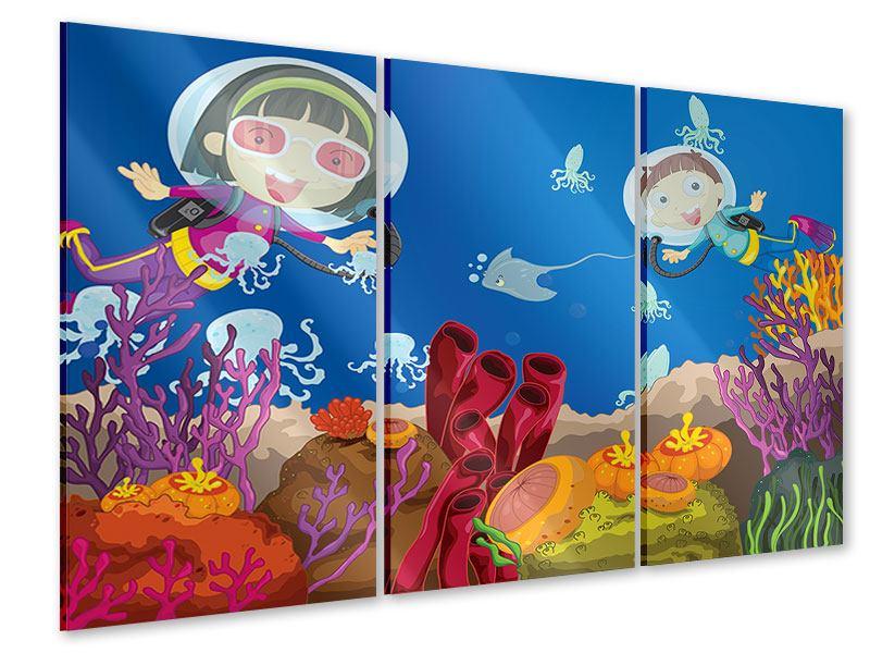 Acrylglasbild 3-teilig Fröhliche Fische